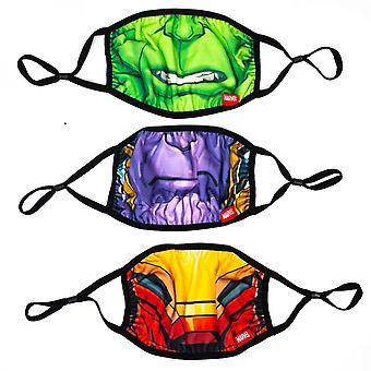 Marvel Avengers Big Face 3-pakkaus säädettäviä uudelleenkäytettäviä kasvosuojuksia