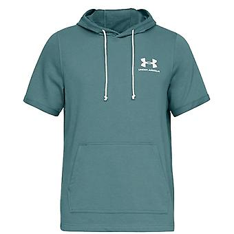 Under Armour Sportstyle Terry Short Sleeve Mens Hoodie Green 1329290 417