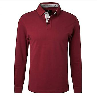 Hackett Mens Polo Shirt Slim Fit Long Sleeved Top Burgundy HM550715 281