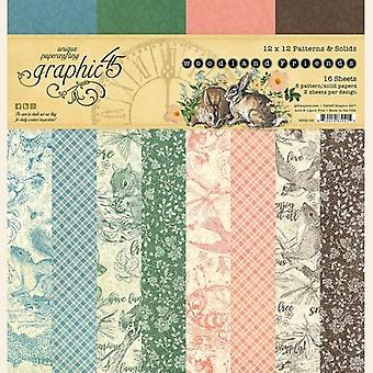 Graphic 45 Woodland Friends 12x12 Patterns & Solids Paper Pad
