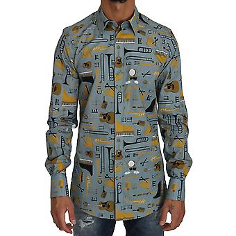 Blau gelb slim fit gold Jazz Casual Shirt