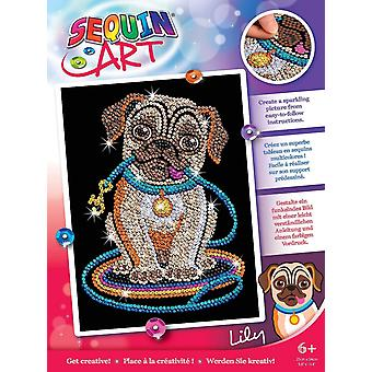 Sequin art pug dog lily