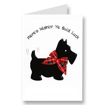 Embroidered Originals Scotty Dog Wishin Ye Guid Luck Scottish Blank Card Gr05