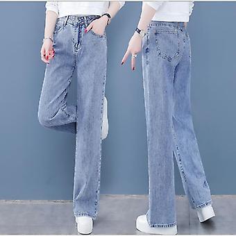 ג'ינס נשים רופף מותניים גבוהות ישר מכנסיים גבוהים צבע מוצק רחב רגליים רטרו