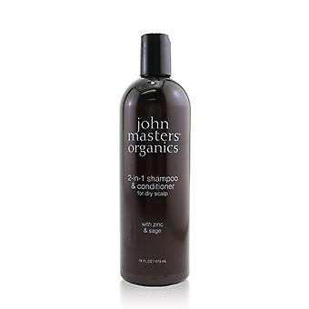 John Masters Organics 2-in-1 Shampoo & Conditioner For Dry Scalp with Zinc & Sage 473ml/16oz