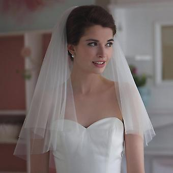 Elegant Short Bridal Wedding Veils, Two Layer With Comb Veil