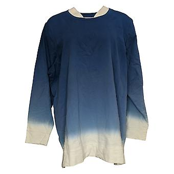 Denim & Co. Women's French Terry Dip Dye Long-Sleeve Tunic Blue A346977
