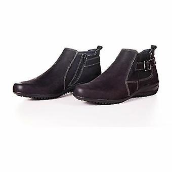 Women's Original Nubuck Samia Leather Black Boots By Enaaf