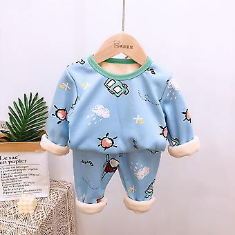 Kinder Pyjamas Sets, Baby warm Langarm Shirt + Hose Cartoon Hose