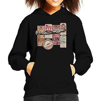 Pan Am Baggage Tags Montage Kid's Hooded Sweatshirt