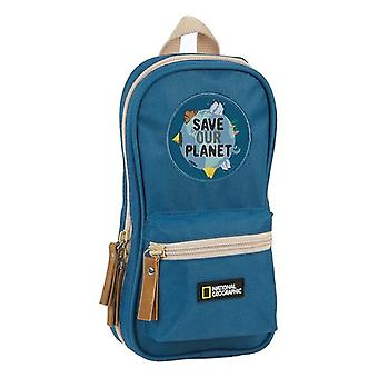 Pencil Case Backpack National Geographic Explorer Blue Brown (33 Pieces)