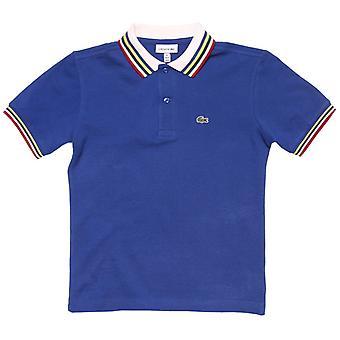 gutt 's lacoste junior tipped polo skjorte i blått