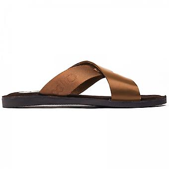 Base London Miso Mens Leather Mule Sandals Tan