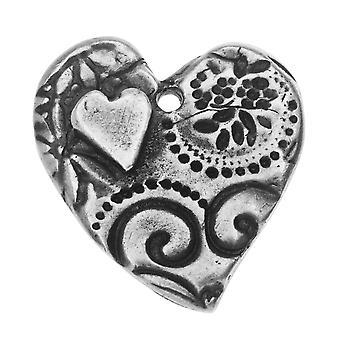 TierraCast Charm, Amor Large Heart 22.5x26mm, 1 Stuk, Antieke Tin