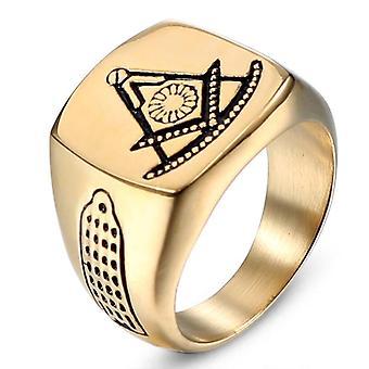 Pasado maestro brújula cuadrada tono oro anillo masónico