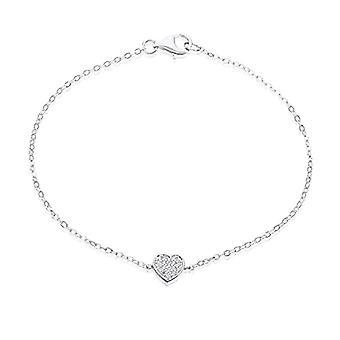 Eye Candy Women's Bracelet, sterling silver 925 rhodium-gnawed heart with 18 zircons 18.5 cm ECJ-br0112