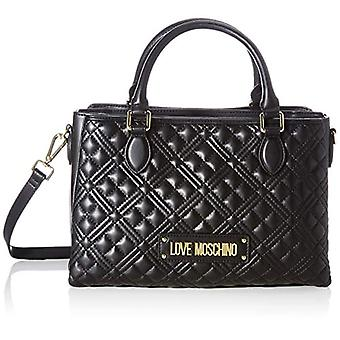 Love Moschino Pre-collection ss41, Women's Handbag, PU New Shiny Quilted, Black, Normal