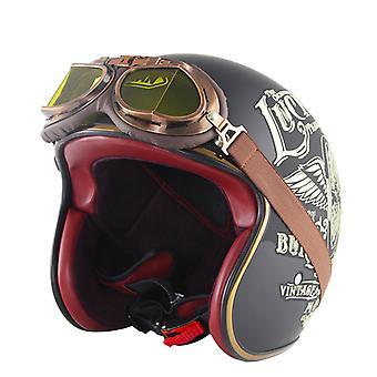 Casques d'accident de moto rétro adultes à visage ouvert 3/4 avec lunettes de protection (Lucky 13)