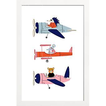 JUNIQE Print - Aeroplane Race - Børneværelset & Kunst for Børn Plakat i Grå