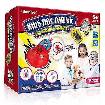 18pcsの子供の医者ツールのibasetoyセットを示すように、幼児の男の子の女の子のためのロールプレイツールキット看護おもちゃをふり