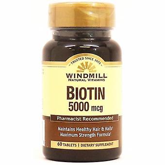 Windmill Health Biotin, 5000mcg, 60 Tabs