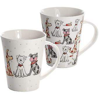 HanFei Mugs Set of 2 Cups for Coffee Tea and Hot Drinks, Porcelain China Dog Design Animal Lovers