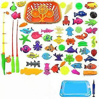 Children's Magnetic Fishing Parent-child interactive Toys Game Kids 2 Rod 10 3D Fish 1 Pool Water