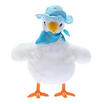Hullu kana pehmon lelu munii hauska laulava kanat nukke lasten lelu (valkoinen)