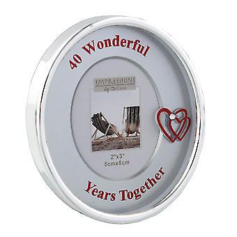 """2"""" x 3"""" - Versilberter ovaler Rahmen - 40-jähriges Jubiläum"""