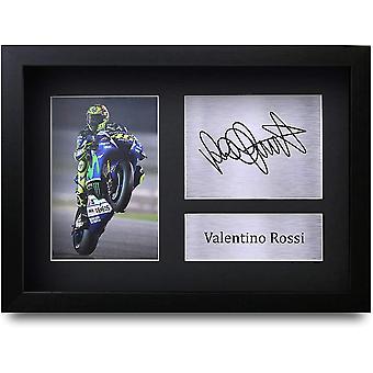 Valentino Rossi A4 Gerahmte Signiert Gedruckt Autogramme Bild Druck-Fotoanzeige Geschenk Für