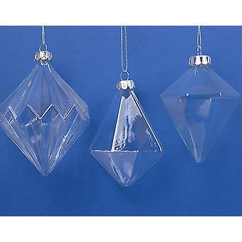 3 Surtido Forma Vidrio Navidad Bauble Ornamentos para la Decoración del árbol