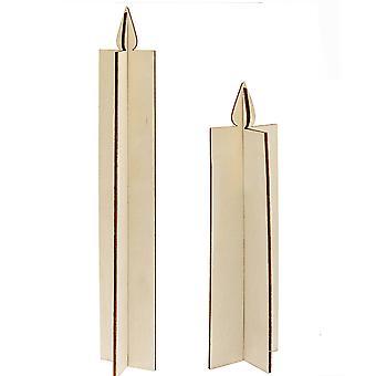 2 Fristående obehandlade träljusformer i två delar för hantverk