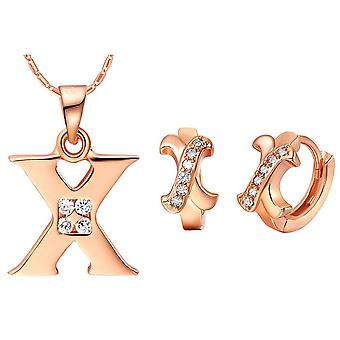 (X)  Alphabet Rhinestone Womens 26 Initial Letter Huggie Earrings Necklace Jewelry Set Rose Gold