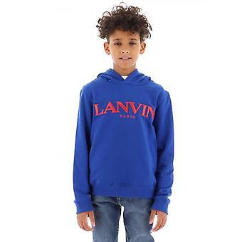 Lanvin Barn Blå Logotyp Hoodie