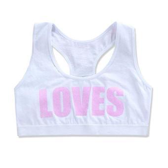 Girls Cotton Sport Training Bra Loves Letter Print Underwear Casual Bralette