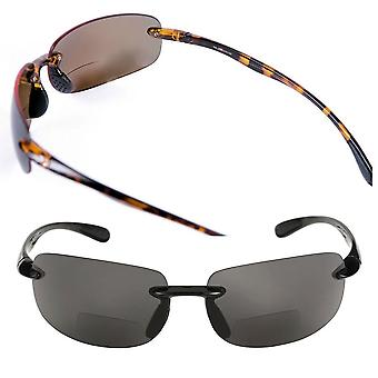 """Lovin Maui"" 2 Pair of Sport Wrap Polarized Bifocal Sunglasses for Men and Women - Black/Tortoise (Polarized) - 1.00"