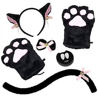 5 Pcs Cat Cosplay Costume Set Cat Ear And Tail Avec Collier Pattes Gants