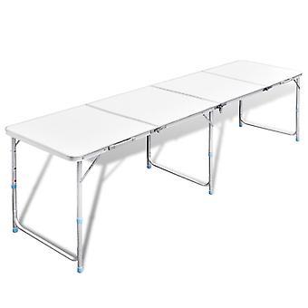 Kokoontaitettava Leiripöytä Alumiini Korkeussäädettävä 240 x 60 cm