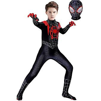 Hywell Kids Miles Morales Costume Spiderman Cosplay Jumpsuit Halloween Cosplay Suit