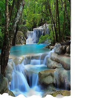 Cascadas 3d Paisaje natural Ducha Cortina de agua Resistente poliéster Gadget de baño