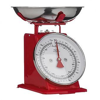 Punainen Retro-tyylinen keittiö mittakaavassa ruostumaton teräs kulho Max. Paino 5Kg