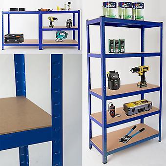Resistente de acero de 5 niveles estanterías y estantes de almacenamiento o Banco de trabajo - grande 875kg de capacidad (azul)