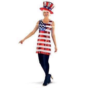 Estrelas e listras senhoras do traje vestido de paetês de Estados Unidos de América