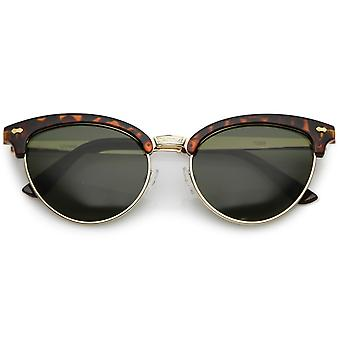 Cat Eye Sonnenbrille Frauen graviert Nasensteg halb randlose ovalen Objektiv 55mm