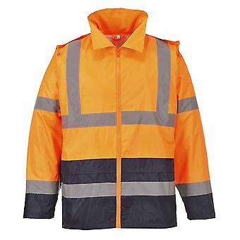 Portwest - Hi-Vis Safety Workwear Classic Contrast Hooded Waterproof Rain Jacket