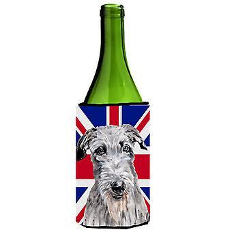Scottish Deerhound mit englischen Union Jack britische Flagge Weinflasche Getränk Ins