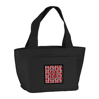 Letter R Football Red, Black and White Lunch Bag