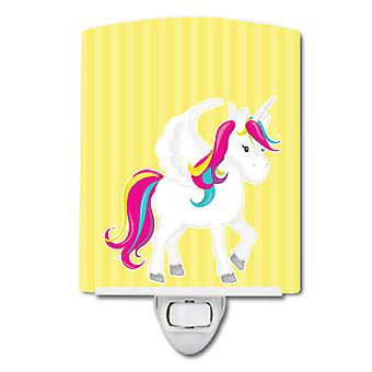Carolines Treasures  BB9091CNL Unicorn Yellow Stripes #2 Ceramic Night Light
