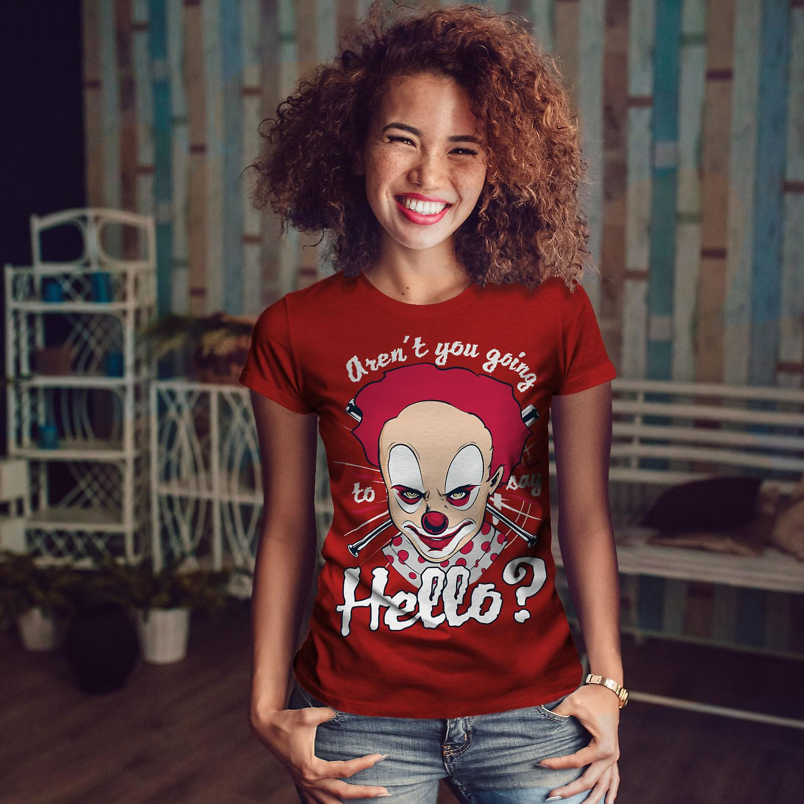 Clown horreur effrayant Bonjour RedT-chemise de femme | Wellcoda Xa2OrK