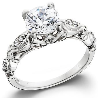 1 1 / 16ct Vintage verbessert Diamant Verlobungsring 14K White Gold